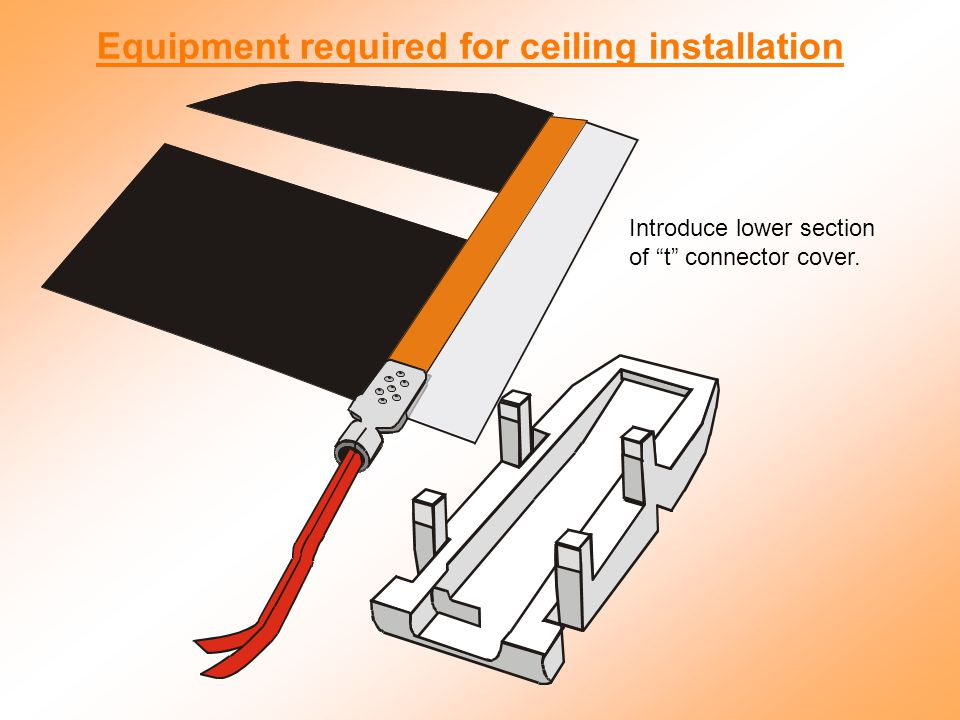 Introduce lower section of t connector cover. Equipment required for ceiling installation