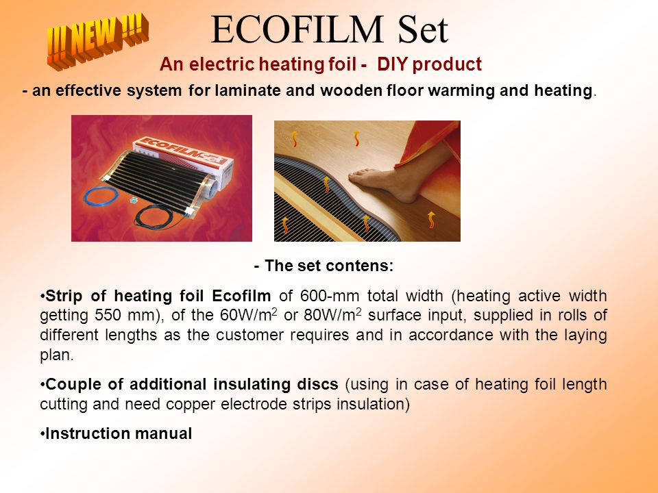 ECOFILM Set An electric heating foil - DIY product - an effective system for laminate and wooden floor warming and heating.