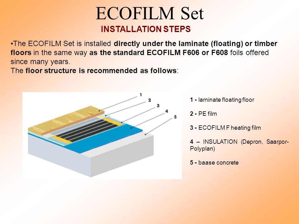 ECOFILM Set INSTALLATION STEPS The ECOFILM Set is installed directly under the laminate (floating) or timber floors in the same way as the standard ECOFILM F606 or F608 foils offered since many years.