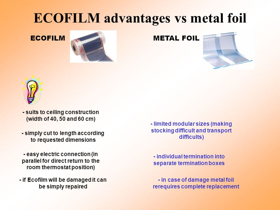 ECOFILM advantages vs metal foil ECOFILMMETAL FOIL - suits to ceiling construction (width of 40, 50 and 60 cm) - simply cut to length according to requested dimensions - easy electric connection (in parallel for direct return to the room thermostat position) - if Ecofilm will be damaged it can be simply repaired - limited modular sizes (making stocking difficult and transport difficults) - individual termination into separate termination boxes - in case of damage metal foil rerequires complete replacement