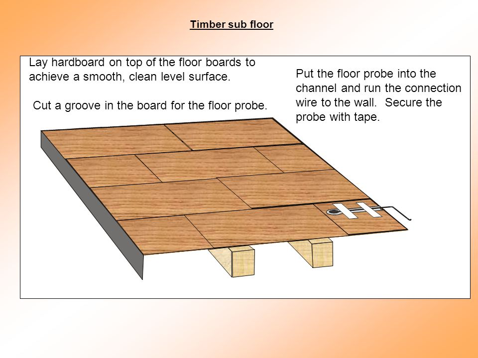 Lay hardboard on top of the floor boards to achieve a smooth, clean level surface.