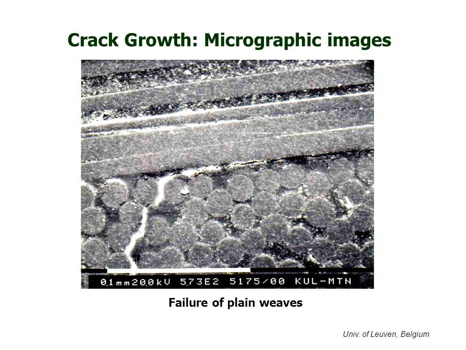 Crack Growth: Micrographic images Failure of plain weaves Univ. of Leuven, Belgium