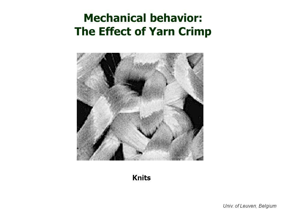 Mechanical behavior: The Effect of Yarn Crimp Knits Univ. of Leuven, Belgium