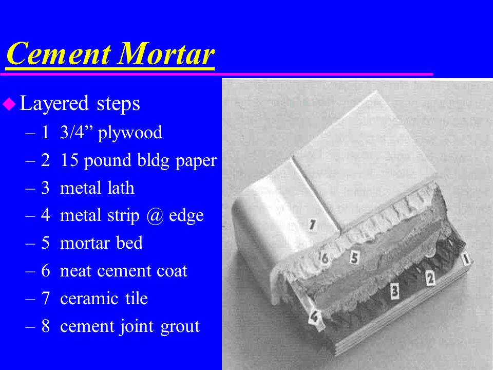 Cement Mortar u Layered steps –1 3/4 plywood –2 15 pound bldg paper –3 metal lath –4 metal strip @ edge –5 mortar bed –6 neat cement coat –7 ceramic t