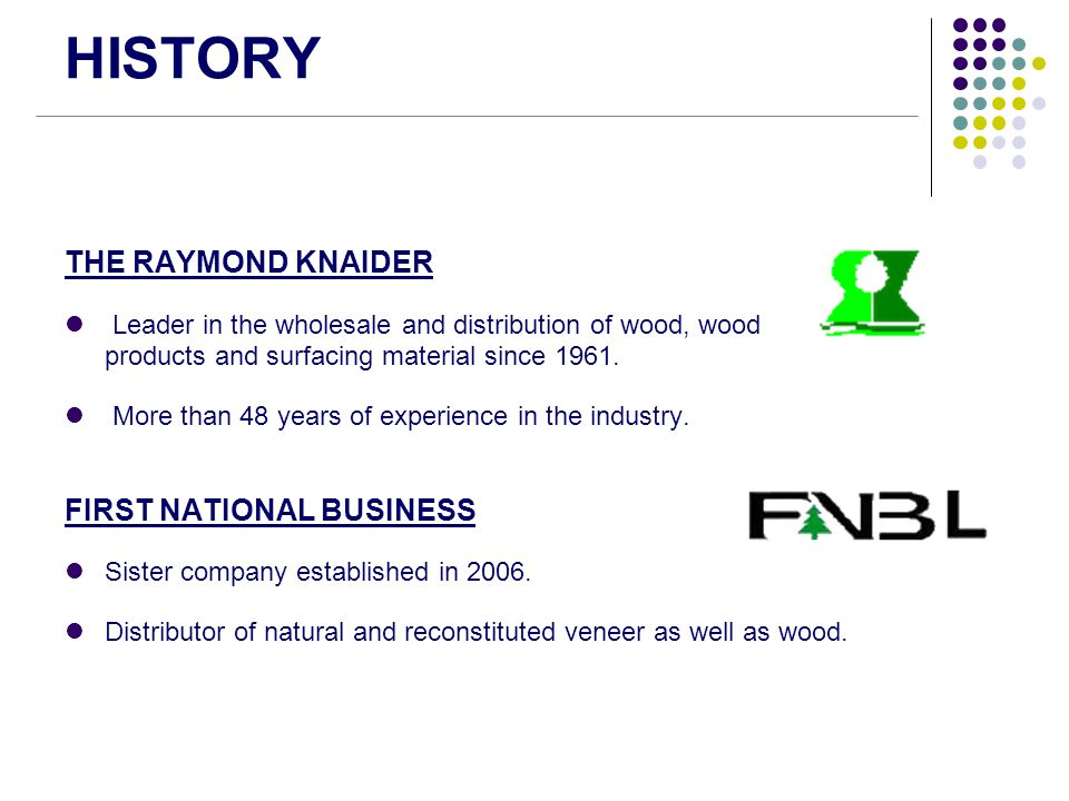 HISTORY THE RAYMOND KNAIDER Leader in the wholesale and distribution of wood, wood products and surfacing material since 1961. More than 48 years of e