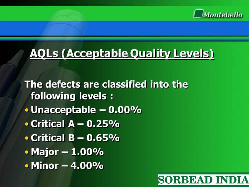AQLs (Acceptable Quality Levels) The defects are classified into the following levels : Unacceptable – 0.00% Critical A – 0.25% Critical B – 0.65% Maj