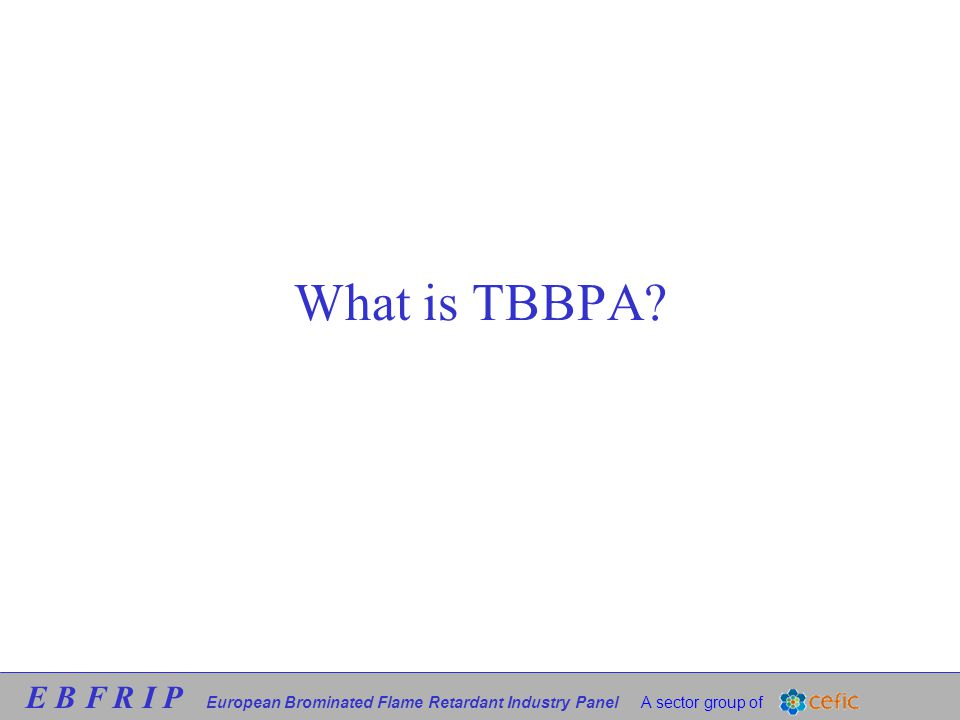 E B F R I P European Brominated Flame Retardant Industry Panel A sector group of What is TBBPA