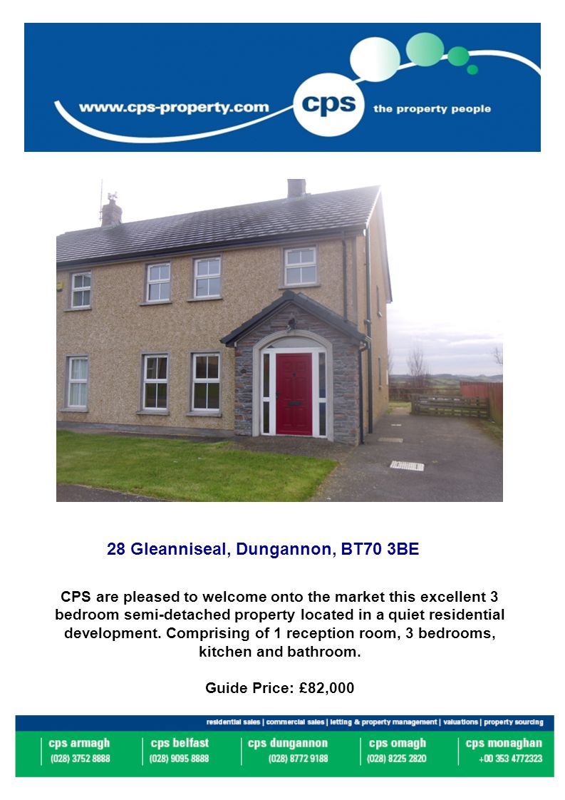 28 Gleanniseal, Dungannon, BT70 3BE CPS are pleased to welcome onto the market this excellent 3 bedroom semi-detached property located in a quiet residential development.