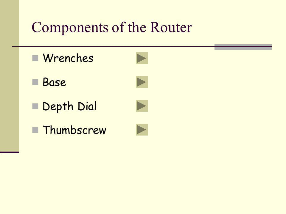 Components of the Router Wrenches Base Depth Dial Thumbscrew