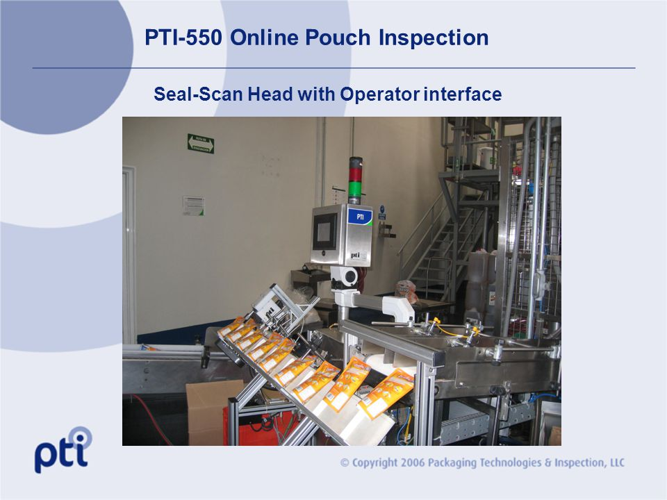 PTI-550 Online Pouch Inspection Seal-Scan Head with Operator interface