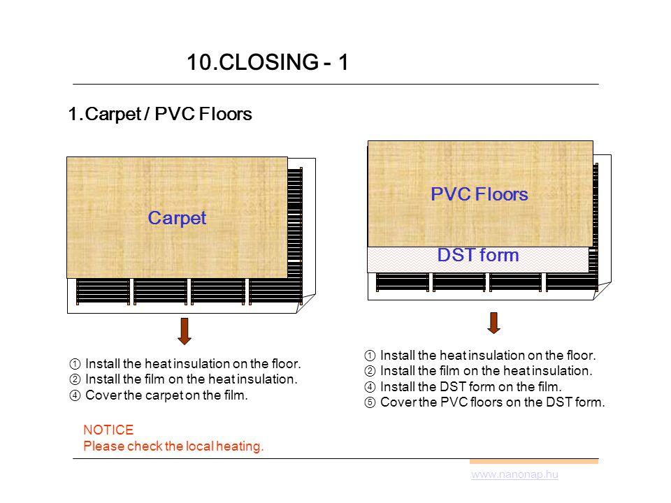 1.Carpet / PVC Floors Install the heat insulation on the floor.