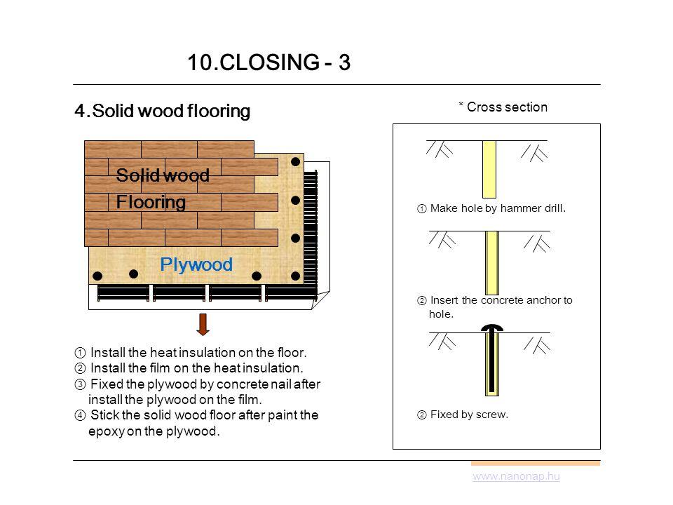 www.nanonap.hu 10.CLOSING - 3 4.Solid wood flooring Plywood Install the heat insulation on the floor.