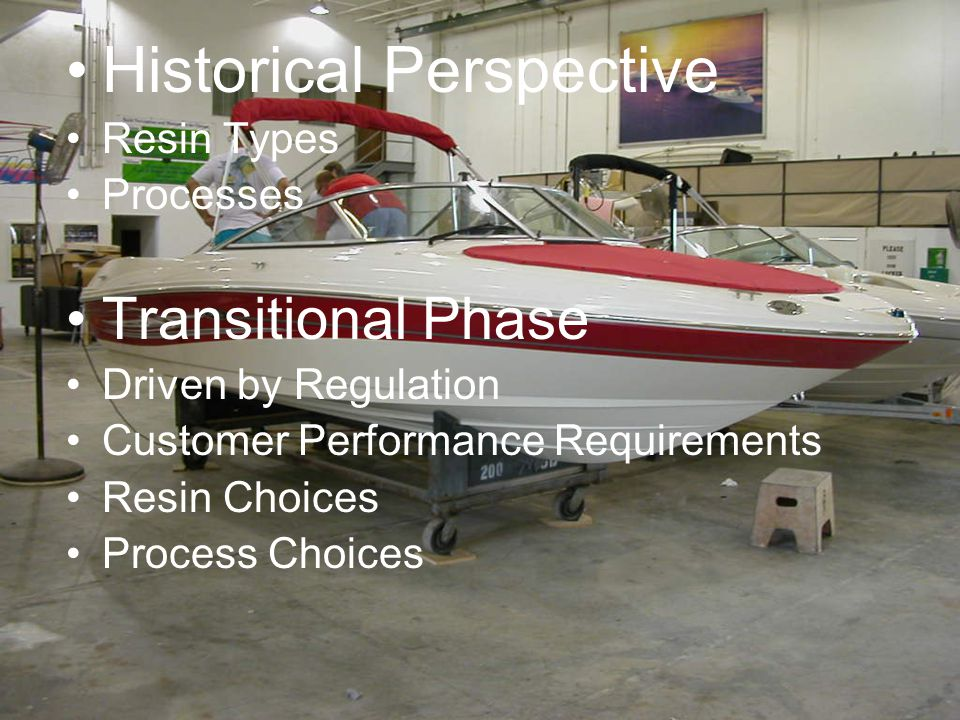 Historical Perspective Resin Types Processes Transitional Phase Driven by Regulation Customer Performance Requirements Resin Choices Process Choices