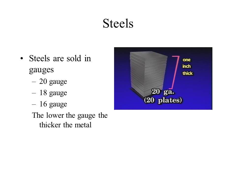 Steels Steels are sold in gauges –20 gauge –18 gauge –16 gauge The lower the gauge the thicker the metal