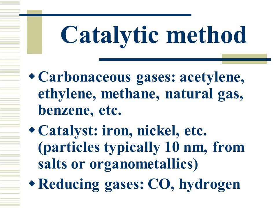 Catalytic method Carbonaceous gases: acetylene, ethylene, methane, natural gas, benzene, etc. Catalyst: iron, nickel, etc. (particles typically 10 nm,