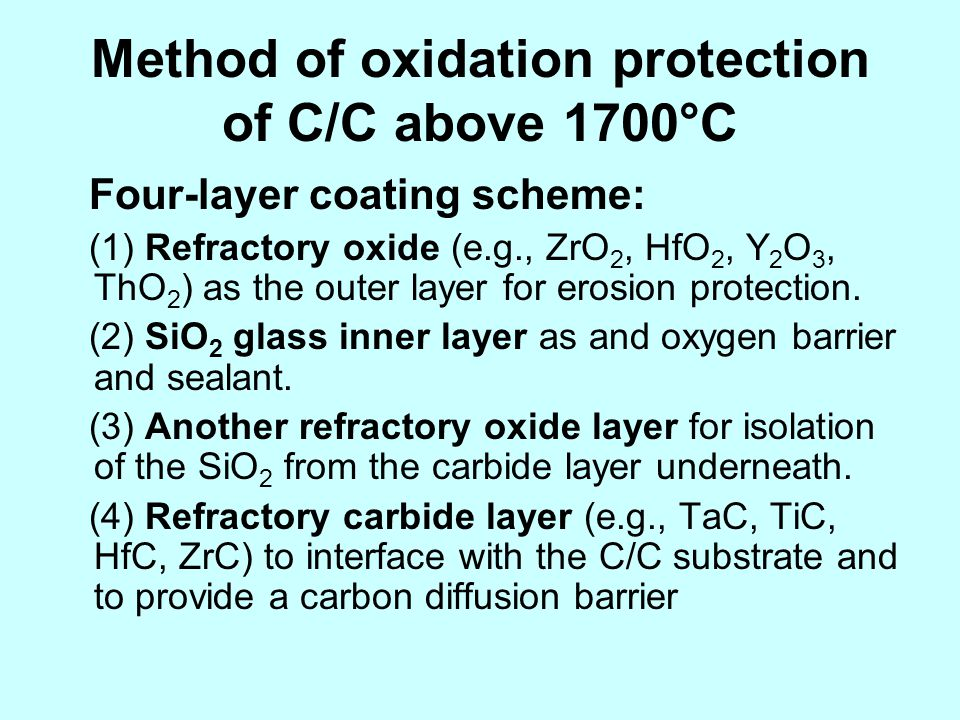 Method of oxidation protection of C/C above 1700°C Four-layer coating scheme: (1) Refractory oxide (e.g., ZrO 2, HfO 2, Y 2 O 3, ThO 2 ) as the outer