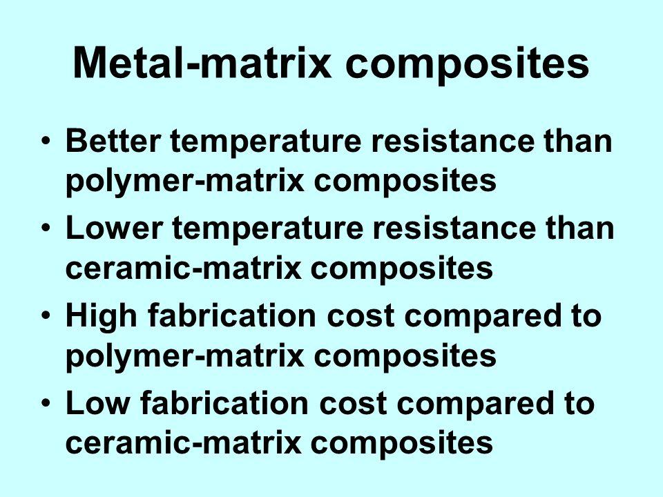 Metal-matrix composites Better temperature resistance than polymer-matrix composites Lower temperature resistance than ceramic-matrix composites High