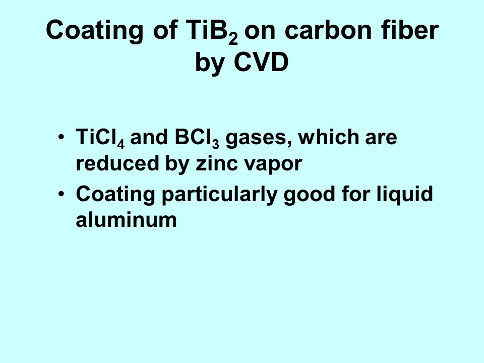 Coating of TiB 2 on carbon fiber by CVD TiCl 4 and BCl 3 gases, which are reduced by zinc vapor Coating particularly good for liquid aluminum