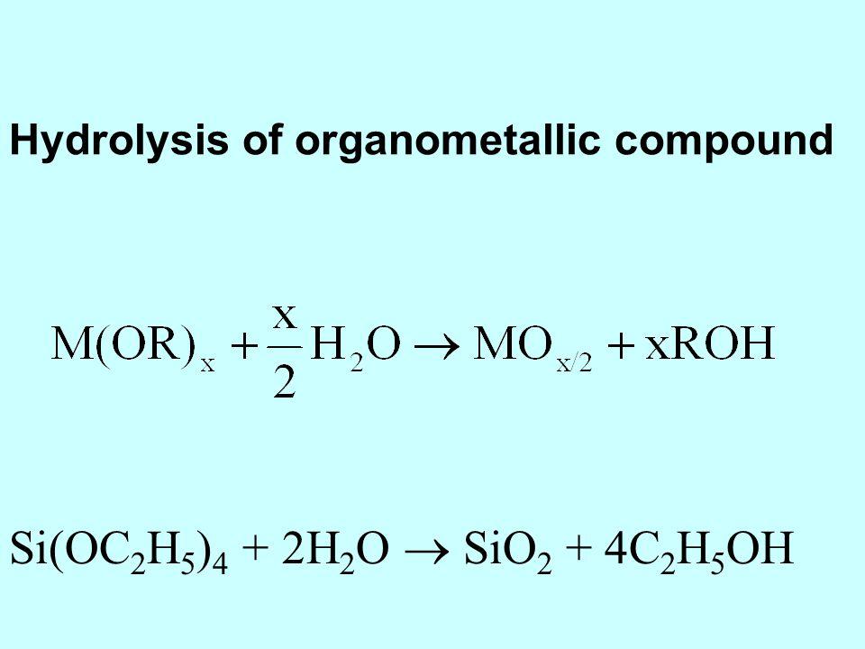 Si(OC 2 H 5 ) 4 + 2H 2 O SiO 2 + 4C 2 H 5 OH Hydrolysis of organometallic compound