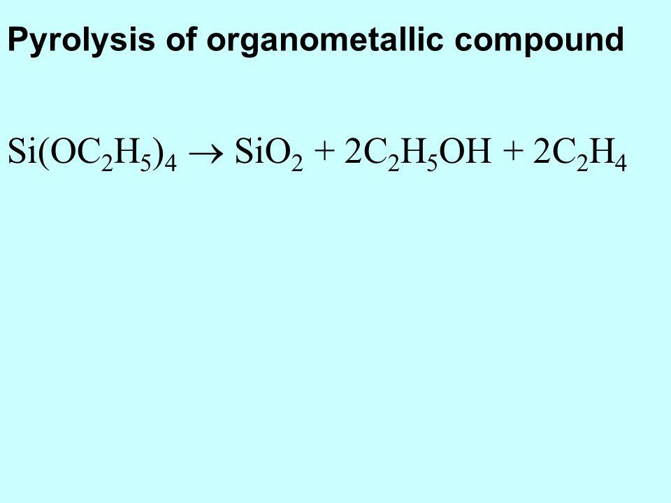 Si(OC 2 H 5 ) 4 SiO 2 + 2C 2 H 5 OH + 2C 2 H 4 Pyrolysis of organometallic compound