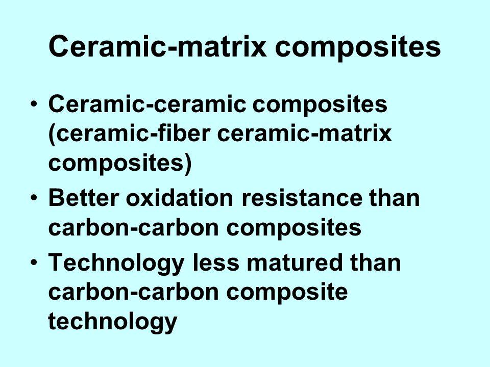 Ceramic-matrix composites Ceramic-ceramic composites (ceramic-fiber ceramic-matrix composites) Better oxidation resistance than carbon-carbon composit