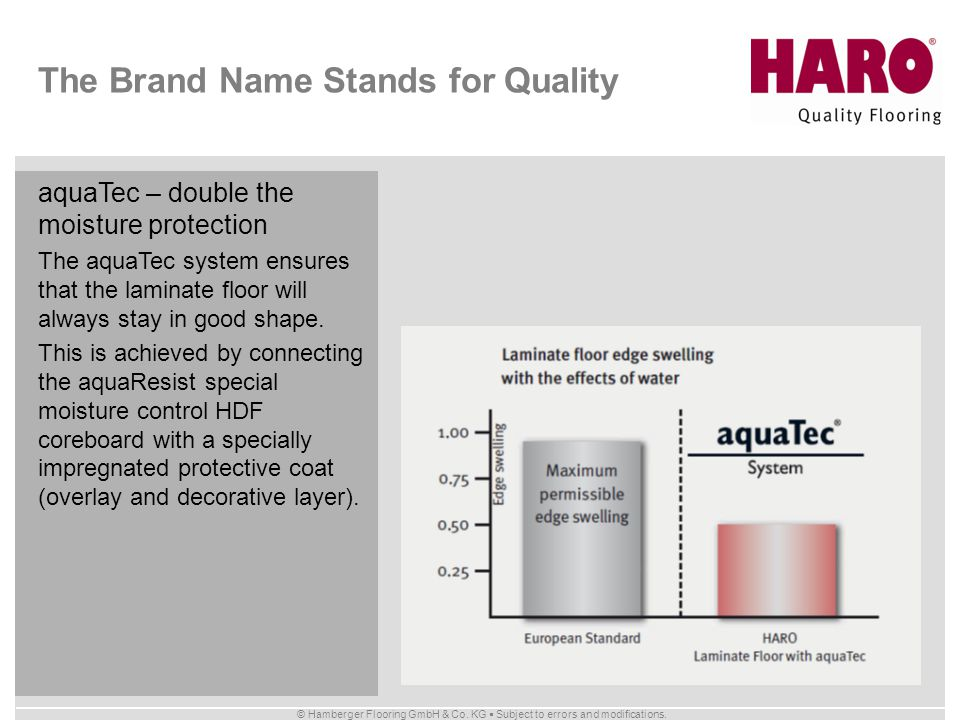 © Hamberger Flooring GmbH & Co. KG Subject to errors and modifications. The Brand Name Stands for Quality aquaTec – double the moisture protection The