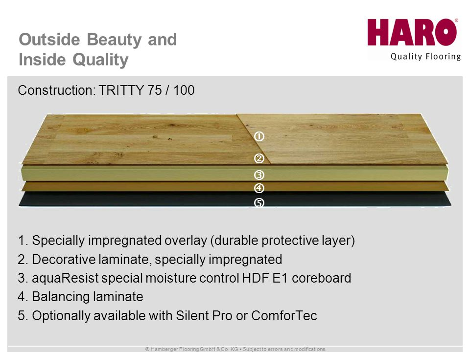 © Hamberger Flooring GmbH & Co. KG Subject to errors and modifications. Outside Beauty and Inside Quality Construction: TRITTY 75 / 100 1. Specially i