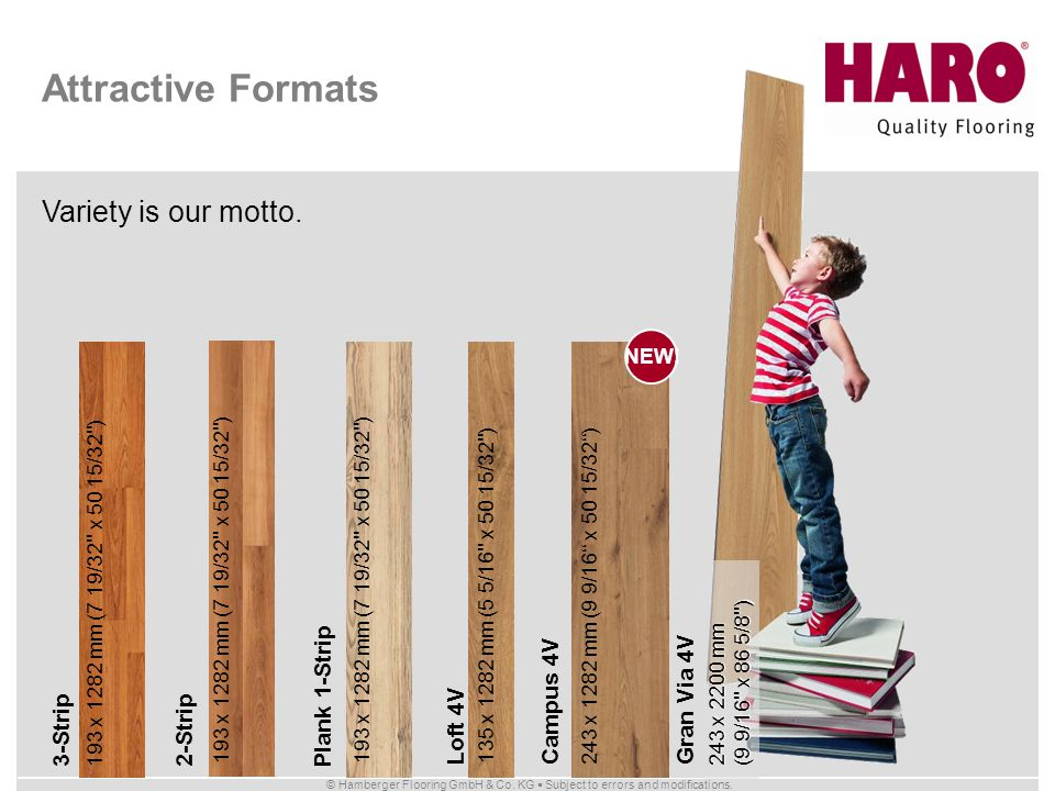 © Hamberger Flooring GmbH & Co. KG Subject to errors and modifications. Variety is our motto. Attractive Formats 3-Strip 193 x 1282 mm (7 19/32'' x 50