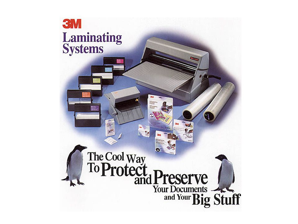 The Cool Way to Protect and Preserve your Documents 3M Laminating Systems 2 Key Features è 3 in 1 Document Finishing System è Non - Electric Operation….No Outlet, No Power è Cool/No Heat…Doesnt Destroy Heat-sensitive Papers è No Warm-up…..No Waiting è Adhesive Lamination…..No Odors, Photo-safe è Portable….Desktop Operation è Lightweight….Weighs Only 8.5 Pounds (LS950) è Easy To Use….Goof-Proof Operation è Refills Quickly w/ 3M Cartridges….No Down Time