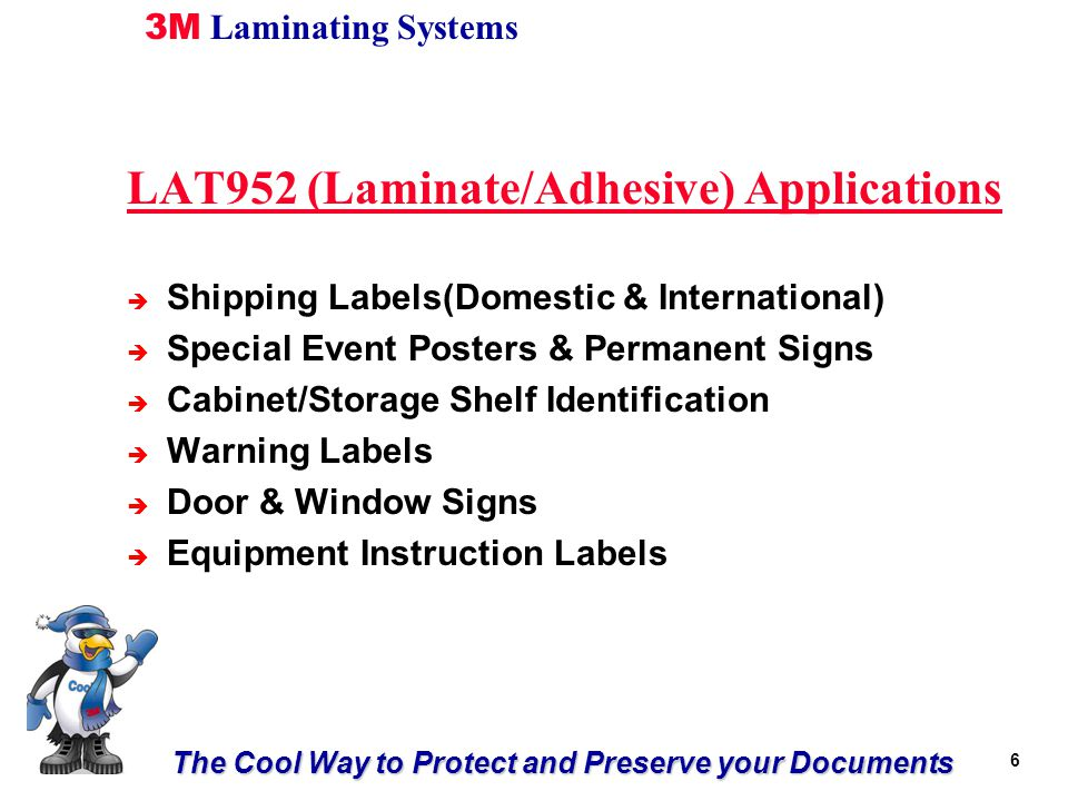 The Cool Way to Protect and Preserve your Documents 3M Laminating Systems 1717 Thanks!