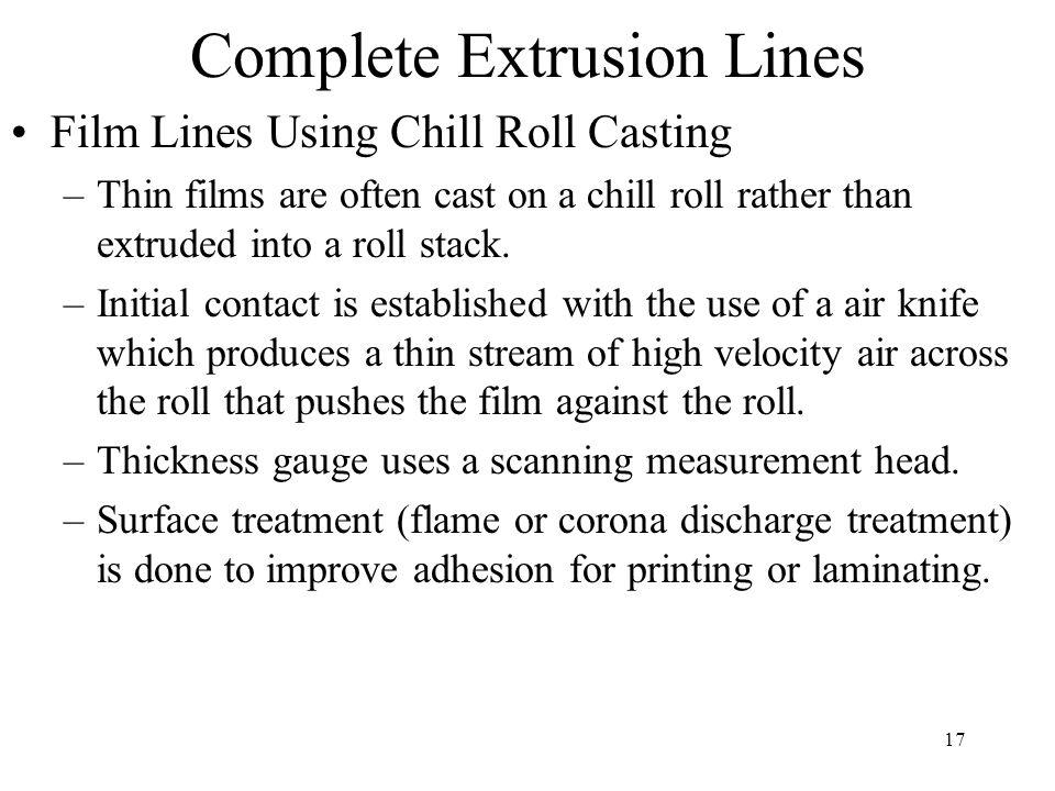 17 Complete Extrusion Lines Film Lines Using Chill Roll Casting –Thin films are often cast on a chill roll rather than extruded into a roll stack. –In