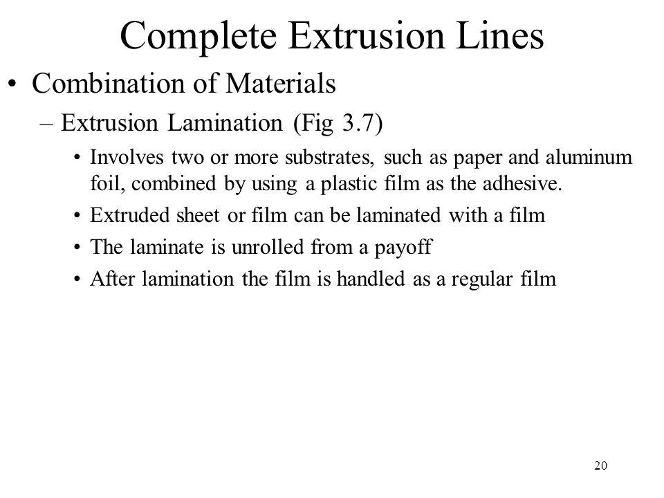 20 Complete Extrusion Lines Combination of Materials –Extrusion Lamination (Fig 3.7) Involves two or more substrates, such as paper and aluminum foil,