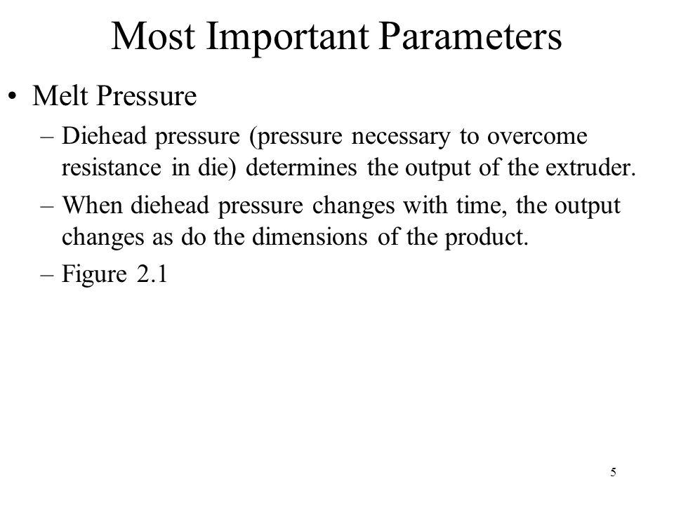 6 Most Important Parameters Pressure Transducers –Strain gauge and piezo-electric are most common –Strain gauge Capillary or pushrod transducer Two diaphragms, one in contact with the plastic melt and one some distance away (Fig 1.2).