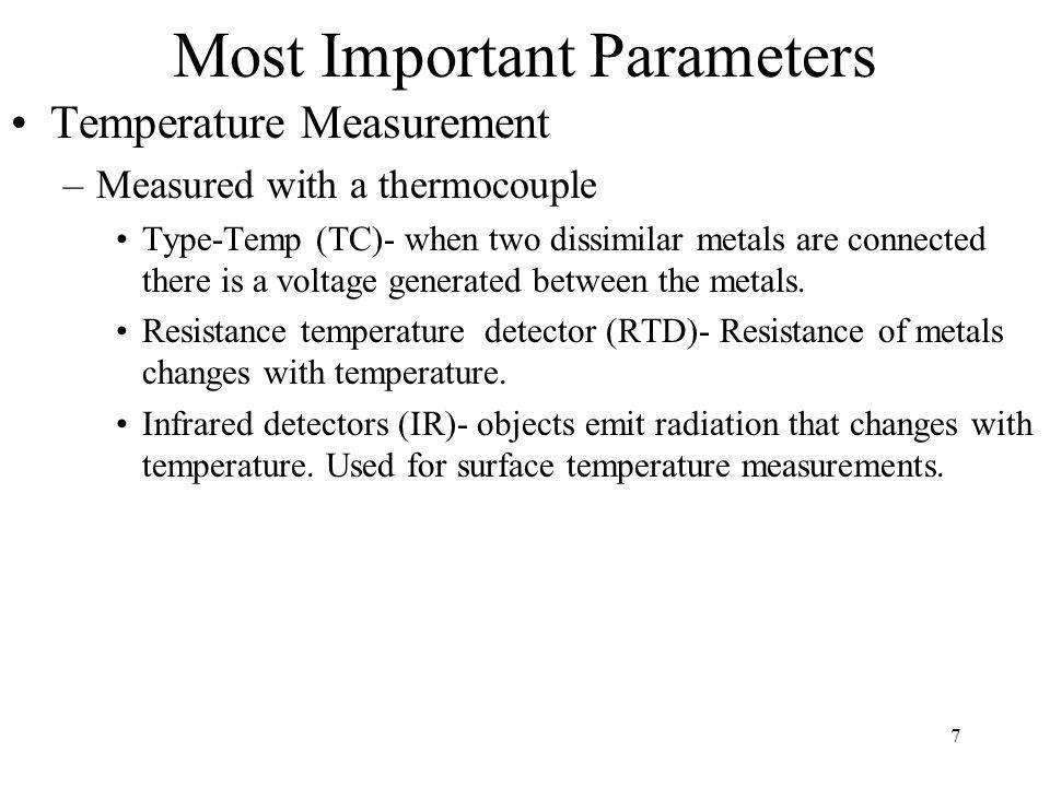 7 Most Important Parameters Temperature Measurement –Measured with a thermocouple Type-Temp (TC)- when two dissimilar metals are connected there is a