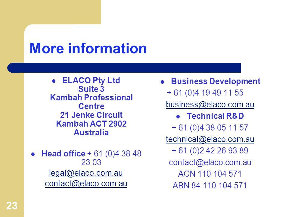 23 More information ELACO Pty Ltd Suite 3 Kambah Professional Centre 21 Jenke Circuit Kambah ACT 2902 Australia Head office + 61 (0)4 38 48 23 03 legal@elaco.com.au contact@elaco.com.au Business Development + 61 (0)4 19 49 11 55 business@elaco.com.au Technical R&D + 61 (0)4 38 05 11 57 technical@elaco.com.au + 61 (0)2 42 26 93 89 contact@elaco.com.au ACN 110 104 571 ABN 84 110 104 571