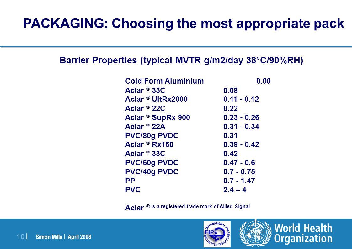 Simon Mills | April 2008 10 | Barrier Properties (typical MVTR g/m2/day 38°C/90%RH) Cold Form Aluminium0.00 Aclar ® 33C0.08 Aclar ® UltRx20000.11 - 0.