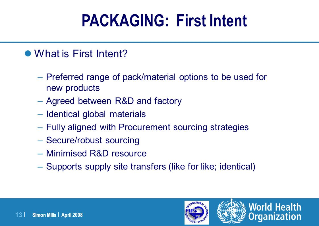 Simon Mills | April 2008 13 | What is First Intent? –Preferred range of pack/material options to be used for new products –Agreed between R&D and fact