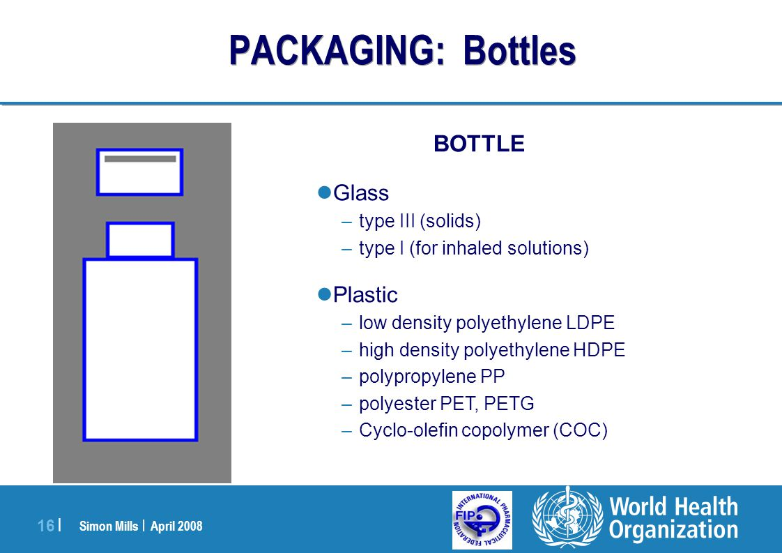 Simon Mills | April 2008 16 | BOTTLE Glass –type III (solids) –type I (for inhaled solutions) Plastic –low density polyethylene LDPE –high density pol