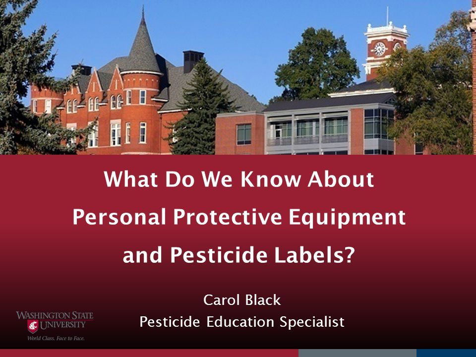 What Do We Know About Personal Protective Equipment and Pesticide Labels? Carol Black Pesticide Education Specialist