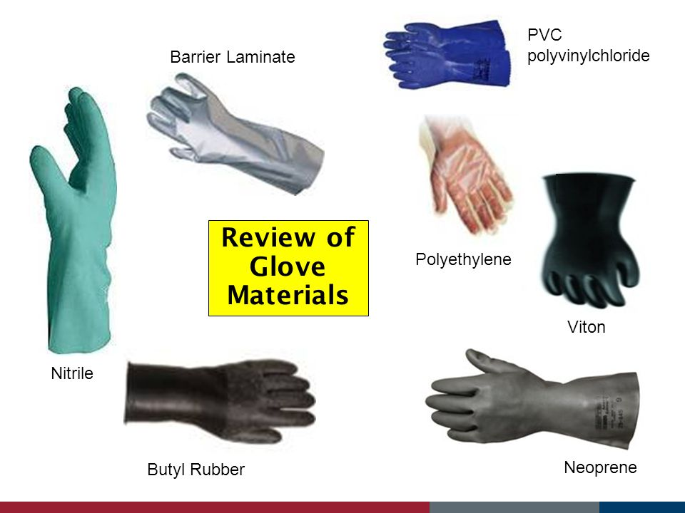 Review of Glove Materials Barrier Laminate Butyl Rubber Polyethylene Neoprene Viton Nitrile PVC polyvinylchloride