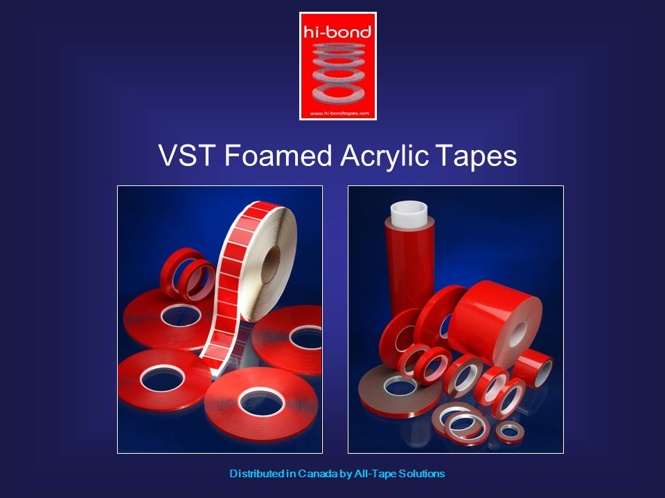 VST foamed acrylic tapes are formulated from acrylic copolymers and monomers to produce a self adhesive visco-elastic foam, which is a high density, closed cell foam, cured by using U.V.