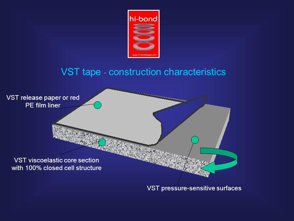 VST tape - construction characteristics VST release paper or red PE film liner VST pressure-sensitive surfaces VST viscoelastic core section with 100%