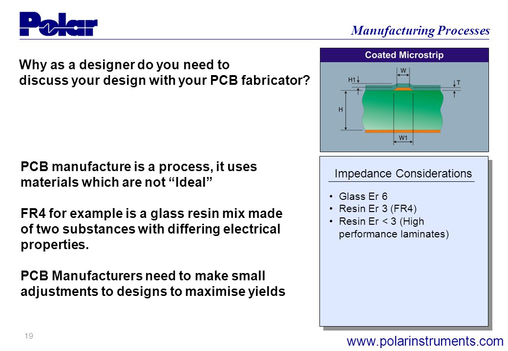 19 Manufacturing Processes www.polarinstruments.com Why as a designer do you need to discuss your design with your PCB fabricator.