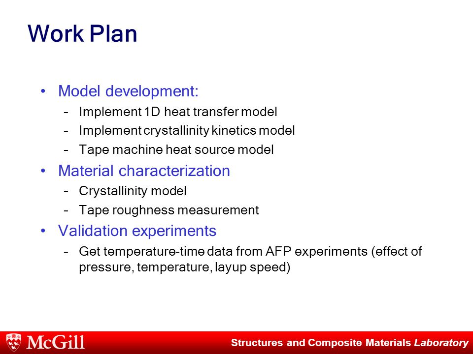 Structures and Composite Materials Laboratory Work Plan Model development: –Implement 1D heat transfer model –Implement crystallinity kinetics model –Tape machine heat source model Material characterization –Crystallinity model –Tape roughness measurement Validation experiments –Get temperature-time data from AFP experiments (effect of pressure, temperature, layup speed)