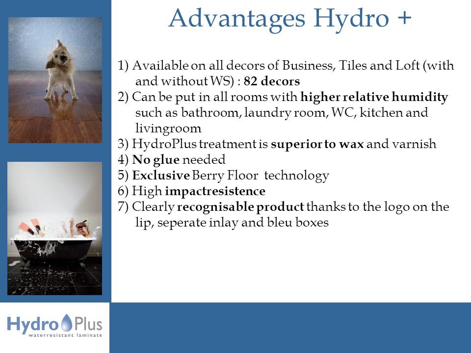 Advantages Hydro + 1) Available on all decors of Business, Tiles and Loft (with and without WS) : 82 decors 2) Can be put in all rooms with higher relative humidity such as bathroom, laundry room, WC, kitchen and livingroom 3) HydroPlus treatment is superior to wax and varnish 4) No glue needed 5) Exclusive Berry Floor technology 6) High impactresistence 7) Clearly recognisable product thanks to the logo on the lip, seperate inlay and bleu boxes