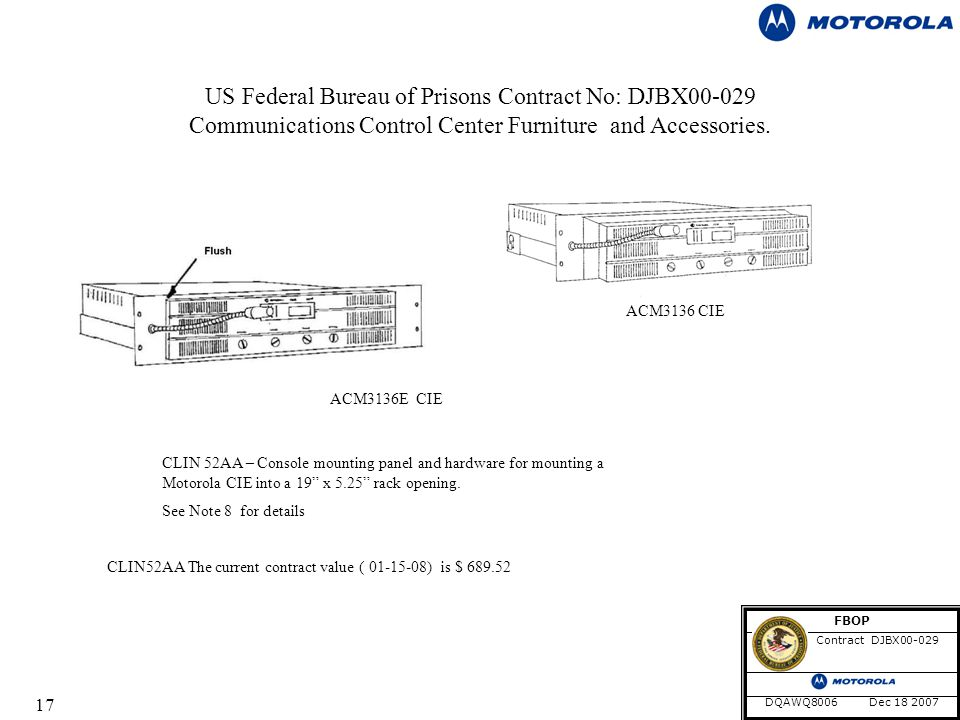 17 US Federal Bureau of Prisons Contract No: DJBX Communications Control Center Furniture and Accessories.