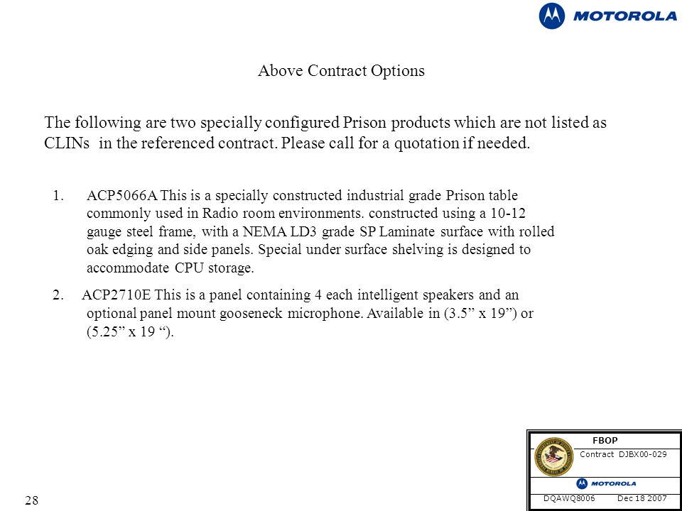 28 Above Contract Options The following are two specially configured Prison products which are not listed as CLINs in the referenced contract.