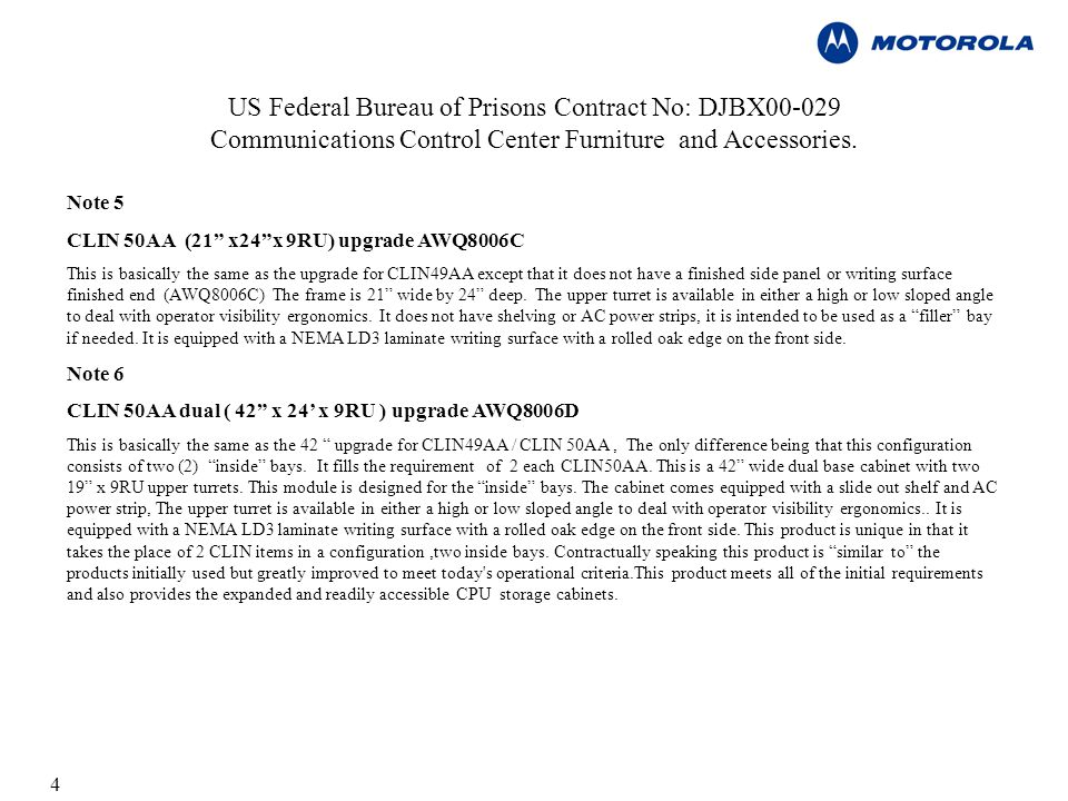 4 US Federal Bureau of Prisons Contract No: DJBX Communications Control Center Furniture and Accessories.