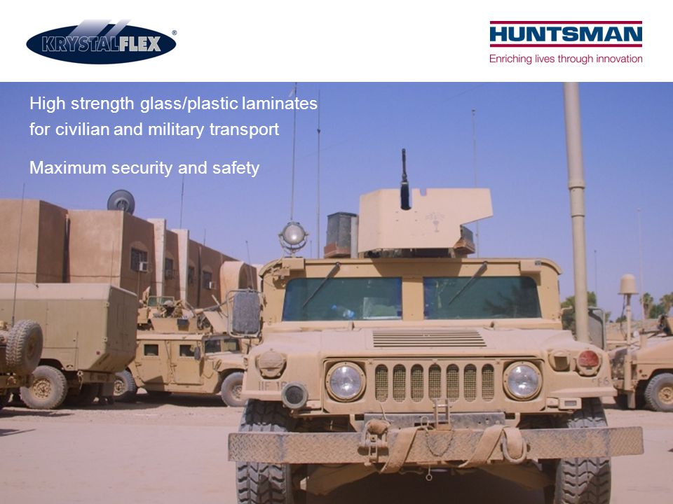 High strength glass/plastic laminates for civilian and military transport Maximum security and safety
