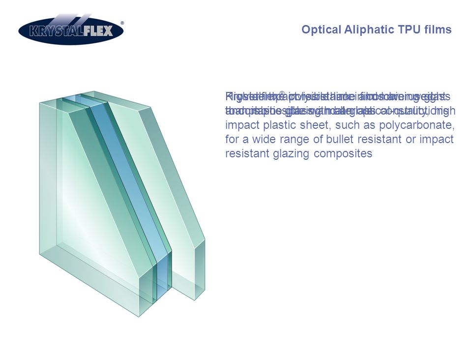 Optical Aliphatic TPU films Provide the invisible link in combining glass and plastic glazing materials Higher impact resistance and lower weight than